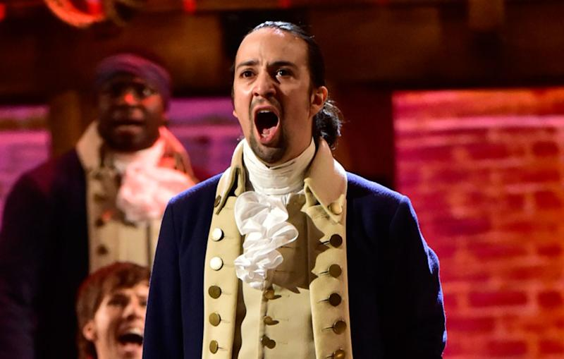 Lin-Manuel Miranda on stage for his hit Broadway musical 'Hamilton' - Credit: Getty Images/CBS Photo Archive