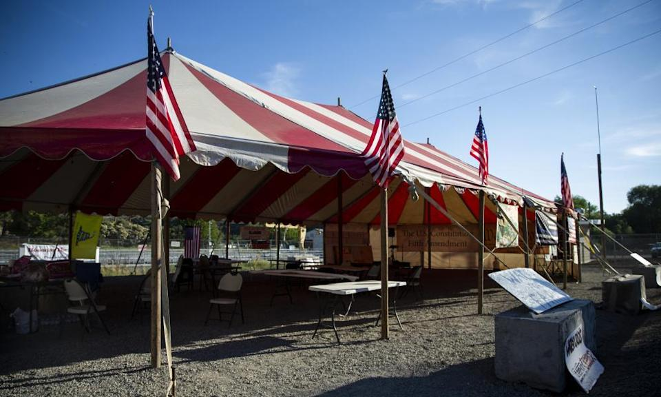 Grant Knoll and Dan Nielsen have set up a large tent on land adjacent to the headgates of the main canal.