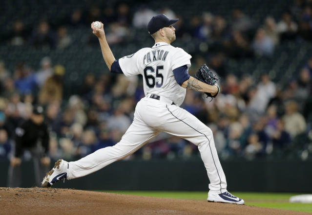 Seattle Mariners starting pitcher James Paxton works against the Oakland Athletics during the first inning of a baseball game, Monday, Sept. 24, 2018, in Seattle. (AP Photo/John Froschauer)