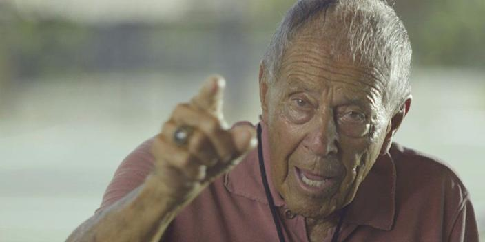 """Nick Bollettieri in a scene from the documentary """"Love Means Zero."""""""