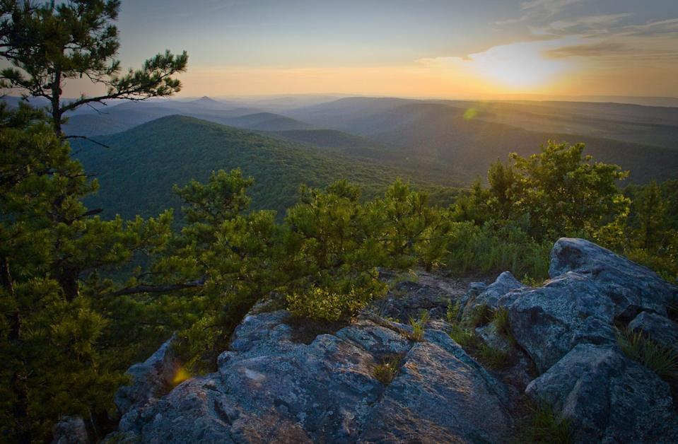 <p>Unlike most of the country's other mountain ranges, the Ouachita range runs east to west. It's located in Ouachita National Forest, which covers 1.8 million acres of land in western Arkansas and southeastern Oklahoma.</p>