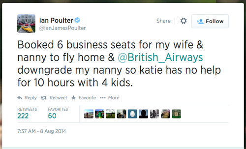 Ian Poulter tweet complaining that his nanny's seat ticket was downgraded
