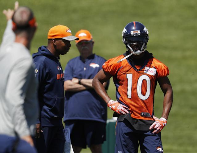 No more fast food: Denver WR Emmanuel Sanders has sworn off drive-thru meals. (AP)