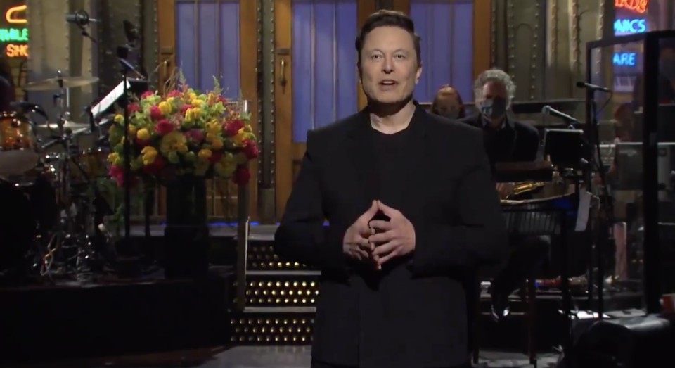 Tesla CEO Elon Musk during an appearance on Saturday Night Live.