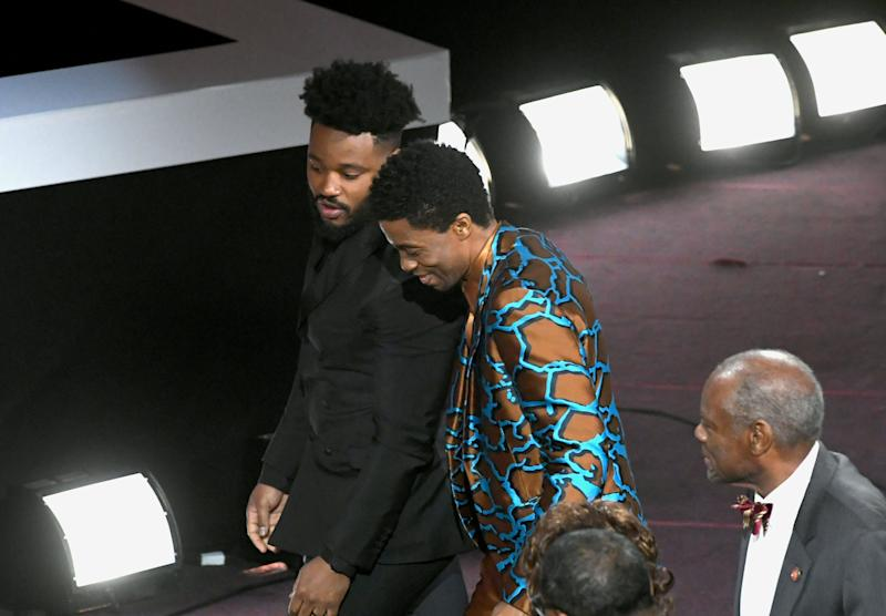 HOLLYWOOD, CALIFORNIA - MARCH 30: Ryan Coogler (L) and Chadwick Boseman at the 50th NAACP Image Awards at Dolby Theatre on March 30, 2019 in Hollywood, California. (Photo by Kevin Winter/Getty Images)