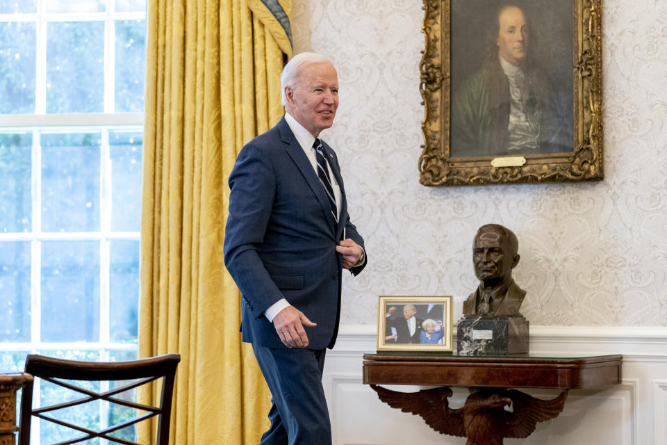 President Joe Biden leaves after signing the American Rescue Plan, a coronavirus relief package, in the Oval Office of the White House, Thursday, March 11, 2021, in Washington. (AP Photo/Andrew Harnik)
