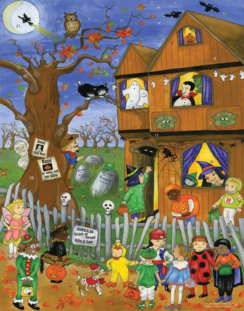 Cardboard advent calendar with a printed image of a house, tree, an children trick-or-treating