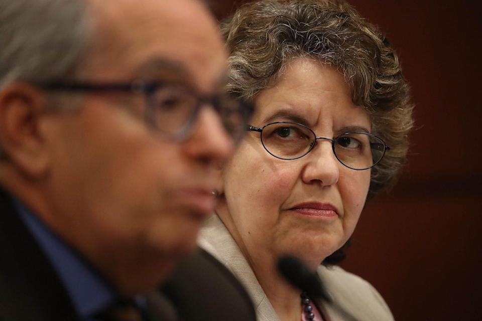 Ellen Weintraub, chairwoman of the Federal Election Commission, listens as Norm Ornstein, resident scholar at the American Enterprise Institute speaks during the Democratic Policy and Communications Committee hearing in the Capitol building on July 19, 2017 in Washington, DC.   (Photo by Joe Raedle/Getty Images)