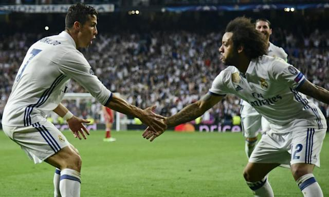 "<span class=""element-image__caption"">Cristiano Ronaldo celebrates with Marcelo after scoring against Bayern Munich.</span> <span class=""element-image__credit"">Photograph: Javier Soriano/AFP/Getty Images</span>"