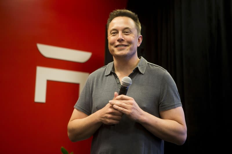 FILE PHOTO: Tesla CEO Elon Musk speaks about new Autopilot features during a Tesla event in Palo Alto, California