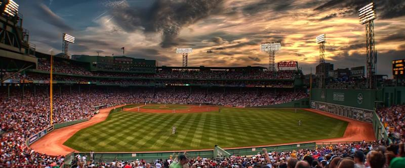 Side view of Fenway Park with the sunset.