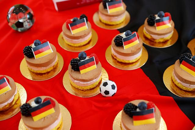 Tartlets with the German flag are seen in a pastry shop in Eppan, Italy May 24, 2018. REUTERS/Leonhard Foeger