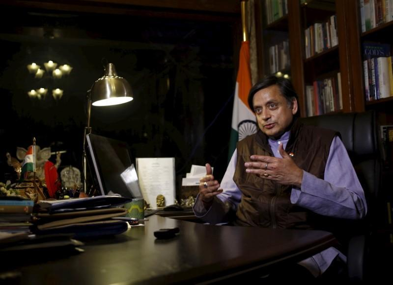 Tharoor, a member of parliament from India's main opposition Congress party, speaks during an interview with Thomson Reuters Foundation at his office in New Delhi, India