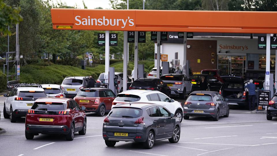 Queues at a Sainsbury's Petrol Station in Colton, Leeds. Drivers are being urged by the Government to