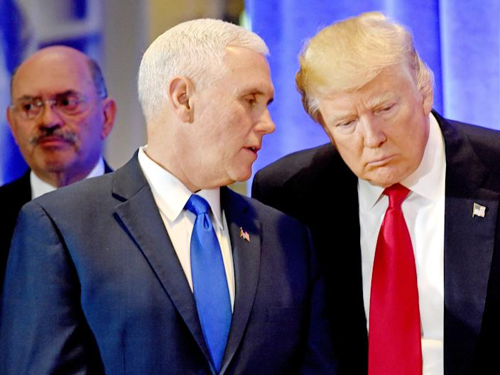 allen weisselberg mike pence and donald trump in trump tower 2017