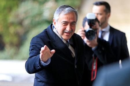 Turkish Cypriot leader Mustafa Akinci arrives for the Cyprus reunification talks at the United Nations in Geneva