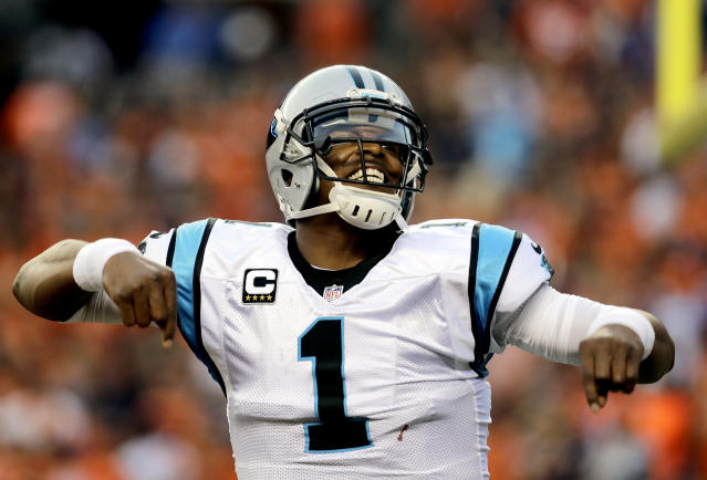 FILE - In this Sept. 8, 2016, file photo, Carolina Panthers quarterback Cam Newton (1) celebrates a touchdown pass against the Denver Broncos during the first half of an NFL football game, in Denver. The New England Patriots have reached an agreement with free-agent quarterback Cam Newton, bringing in the 2015 NFL Most Valuable Player to help the team move on from three-time MVP Tom Brady, a person with knowledge of the deal told The Associated Press. The one-year deal is worth up to $7.5 million with incentives, the person said, speaking on the condition of anonymity because he was not authorized to discuss it publicly. (AP Photo/Joe Mahoney)