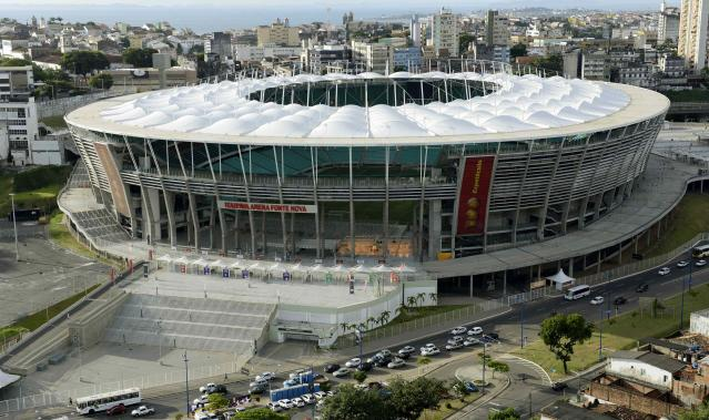 An aerial shot shows Arena Fonte Nova stadium in Salvador, in the state of Bahia, northern Brazil, in this March 28, 2014 file photo. REUTERS/Valter Pontes/Files (BRAZIL - Tags: SPORT SOCCER WORLD CUP)