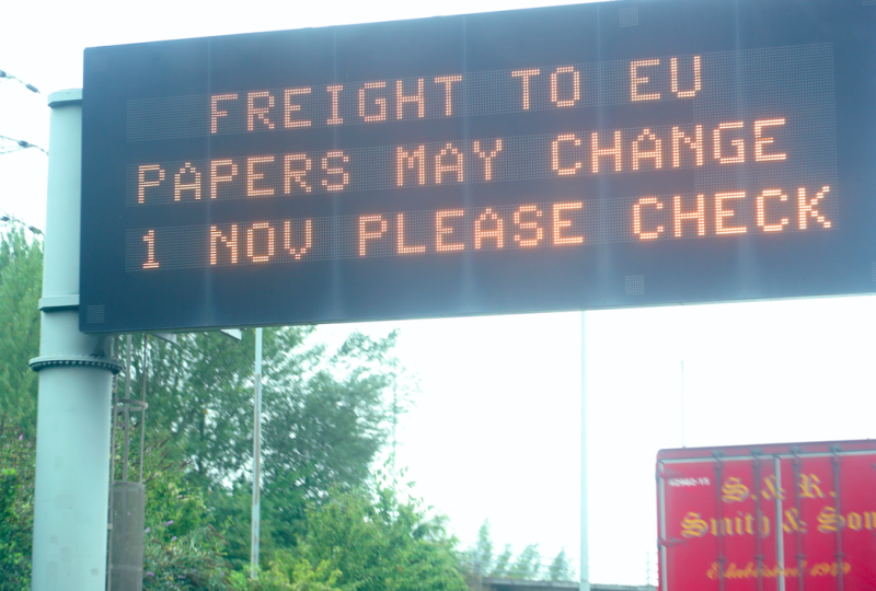 An electronic road sign on the A2 in Gravesend warning of possible changes to EU paperwork post-Brexit (PA)