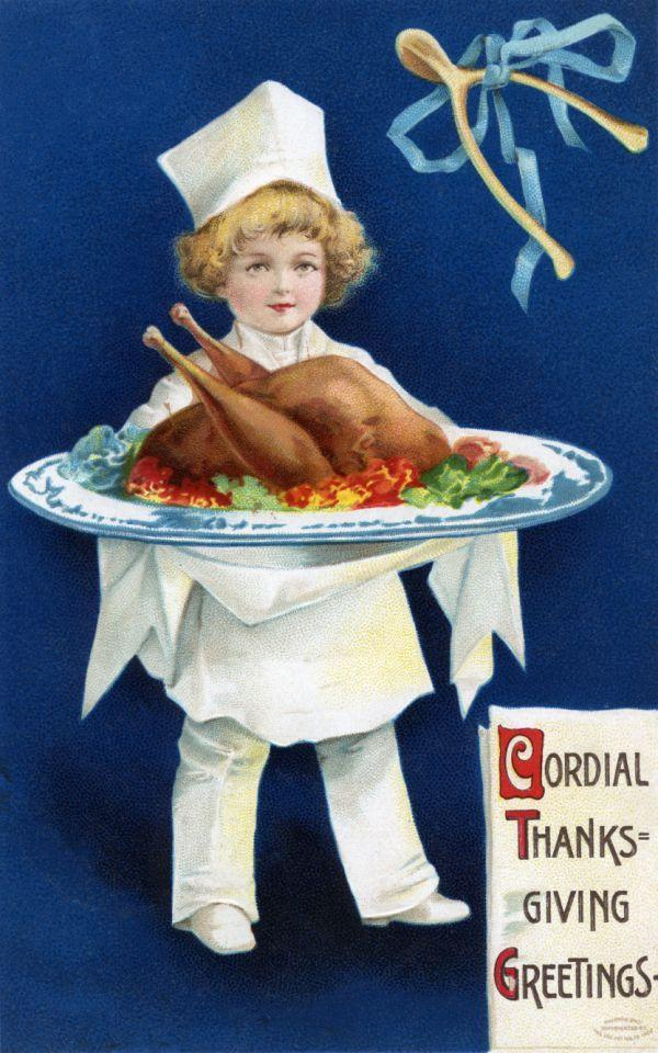1910 — Cordial Thanksgiving Greetings Postcard — Image by © PoodlesRock/Corbis