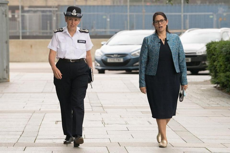 Commissioner Dame Cressida Dick (left) with Home Secretary Priti Patel during a June visit to the new Counter-Terrorism Operations Centre (CTOC) in West Brompton, London (Stefan Rousseau/PA) (PA Wire)