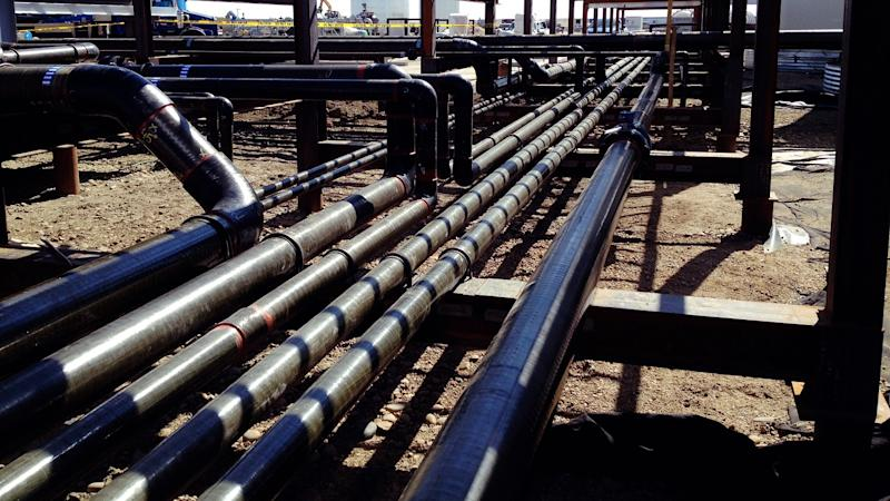 Series of pipelines at an energy terminal.