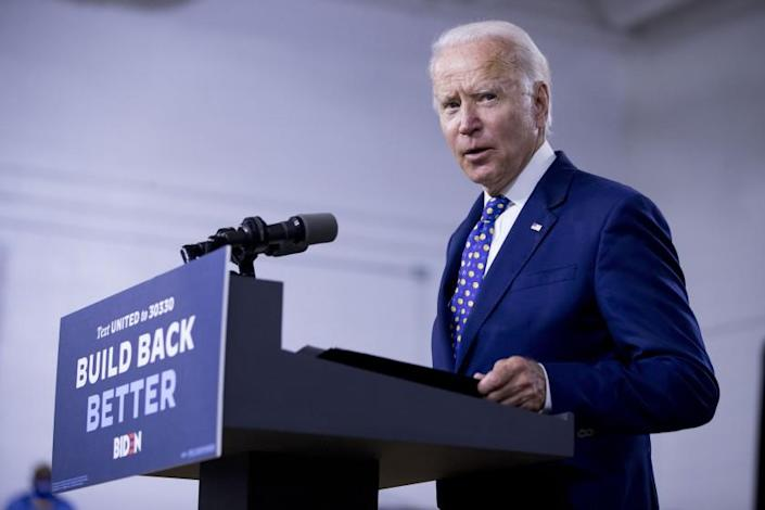 """Former Vice President Joe Biden speaks at a campaign event in Wilmington, Del., on July 28. <span class=""""copyright"""">(Andrew Harnik / Associated Press)</span>"""