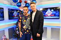 Liam Payne is iterviewed by Roman Kemp backstage during day two of Capital's Jingle Bell Ball 2017 at the O2 Arena, London.