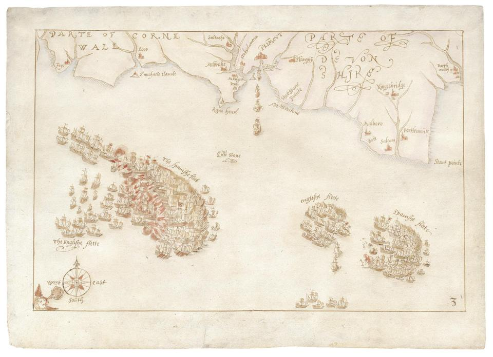 One of a collection of rare maps charting the defeat of the Spanish Armada (DCMS/PA) (PA Media)