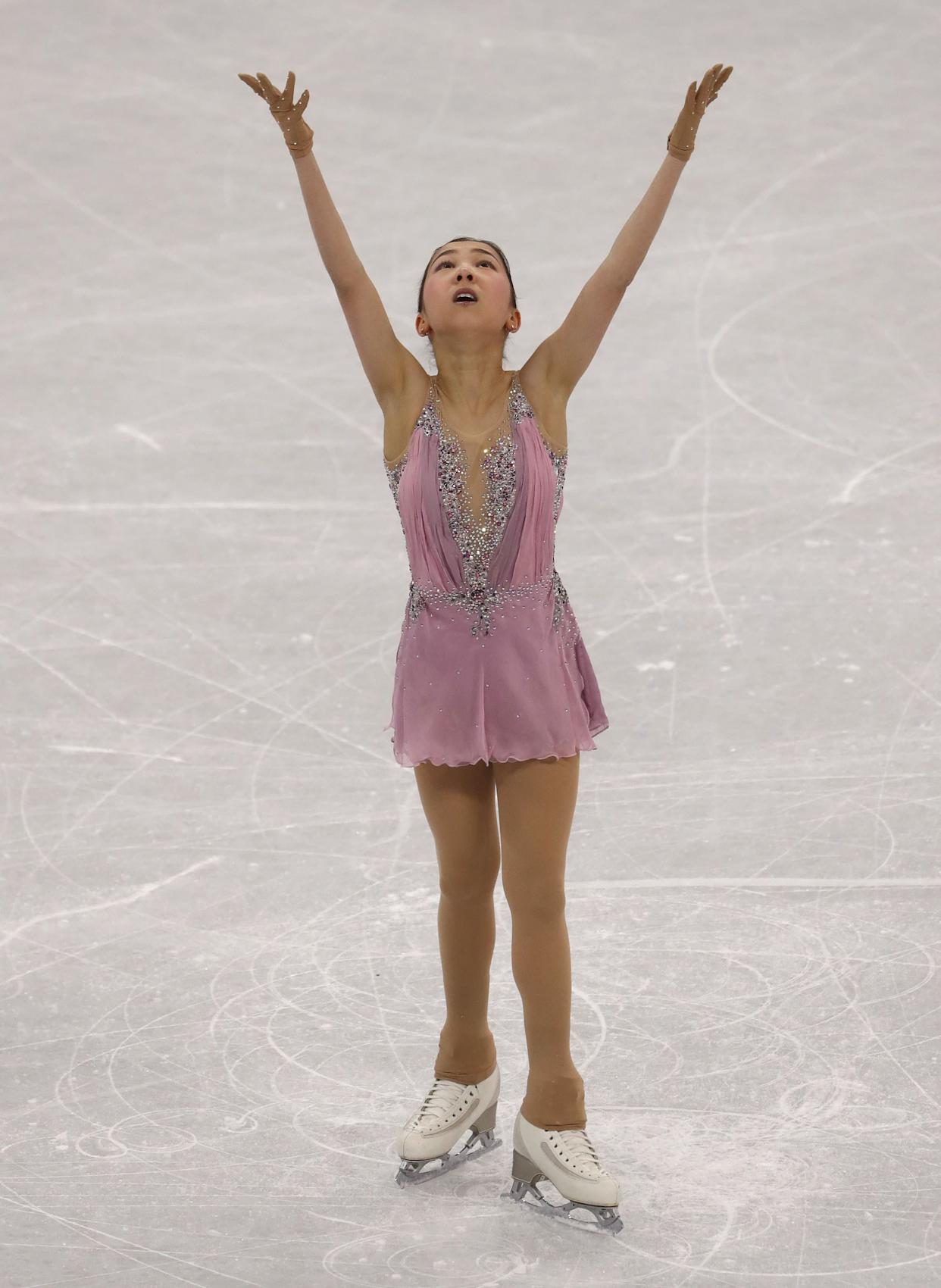 The Kazakh skater wore this pretty pink costume for her free skate during the ladies single event.