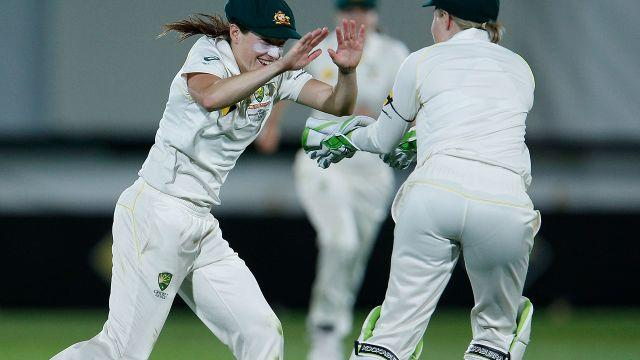 Perry celebrates a wicket. Image: Getty