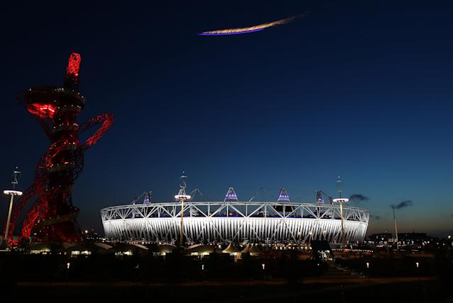 LONDON, ENGLAND - AUGUST 29: A plane flies over the Olympic Stadium during the Opening Ceremony of the London 2012 Paralympics at the Olympic Stadium on August 29, 2012 in London, England. (Photo by Julian Finney/Getty Images)