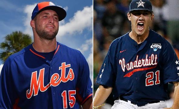 Tim Tebow homered off John Kilichowski in his first professional at-bat in the instructional league. (AP/Vanderbilt)
