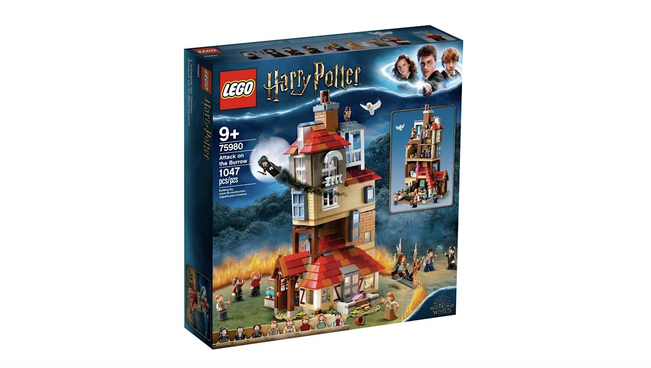 """<p>The <a href=""""https://www.popsugar.com/buy/Lego-Harry-Potter-Attack-Burrow-Set-568897?p_name=Lego%20Harry%20Potter%20Attack%20on%20the%20Burrow%20Set&retailer=lego.com&pid=568897&price=100&evar1=moms%3Aus&evar9=47244751&evar98=https%3A%2F%2Fwww.popsugar.com%2Ffamily%2Fphoto-gallery%2F47244751%2Fimage%2F47454623%2FLego-Harry-Potter-Attack-on-Burrow-Set&list1=toys%2Clego%2Ctoy%20fair%2Ckid%20shopping%2Ckids%20toys&prop13=mobile&pdata=1"""" rel=""""nofollow"""" data-shoppable-link=""""1"""" target=""""_blank"""" class=""""ga-track"""" data-ga-category=""""Related"""" data-ga-label=""""https://www.lego.com/en-us/product/attack-on-the-burrow-75980"""" data-ga-action=""""In-Line Links"""">Lego Harry Potter Attack on the Burrow Set</a> ($100, available on Aug. 1) has 1,047 pieces and is best suited for kids ages 9 and up.</p>"""