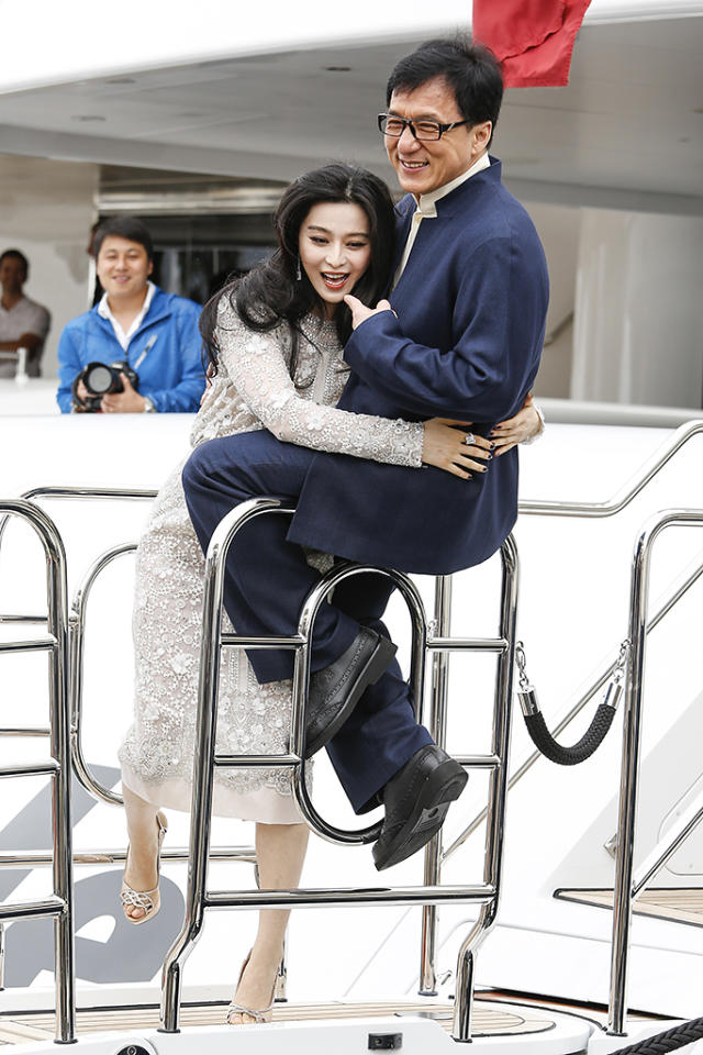 CANNES, FRANCE - MAY 16: Fan Bingbing and Jackie Chan at the 66th Annual Cannes Film Festival on May 16, 2013 in Cannes, France. (Photo by Harlem Mepham/FilmMagic)