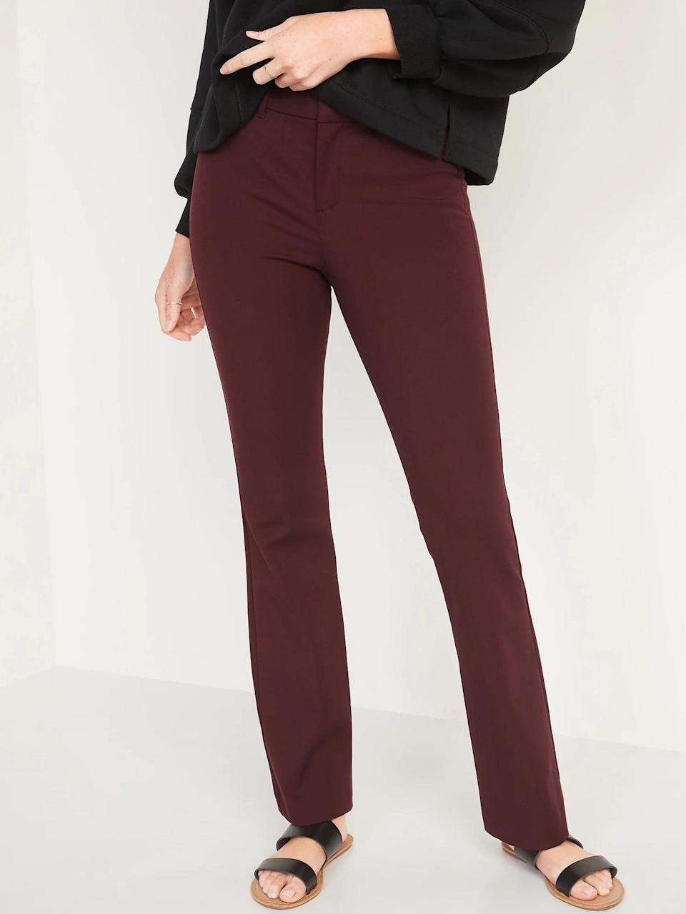 <p>Burgundy <span>Old Navy High-Waisted Pixie Full-Length Flare Pants</span> ($40) and a blouse would look just as lovely with heels as they would with boots if you're heading back to the office soon.</p>