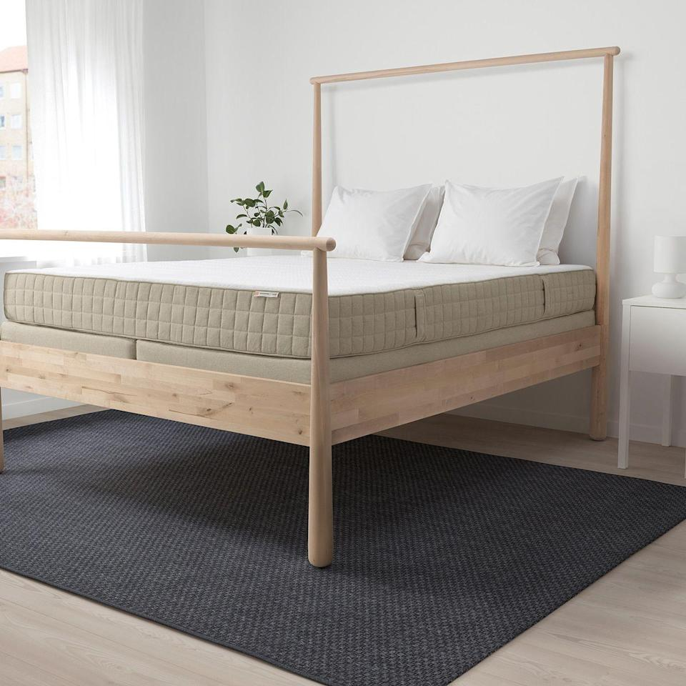 """<p><strong>IKEA</strong></p><p>ikea.com</p><p><strong>$899.00</strong></p><p><a href=""""https://go.redirectingat.com?id=74968X1596630&url=https%3A%2F%2Fwww.ikea.com%2Fus%2Fen%2Fp%2Fmausund-natural-latex-mattress-medium-firm-natural-90386093%2F&sref=https%3A%2F%2Fwww.goodhousekeeping.com%2Fhome-products%2Fg34383668%2Fbest-organic-mattresses%2F"""" rel=""""nofollow noopener"""" target=""""_blank"""" data-ylk=""""slk:Shop Now"""" class=""""link rapid-noclick-resp"""">Shop Now</a></p><p>Ikea is widely recognized for its unbeatable prices, and <strong>this mattress gives you a great deal on sustainable bedding. </strong>Besides latex, it has cotton, wool and linen throughout the mattress. Unlike others in this roundup, the support is entirely from latex and there are no innersprings.</p><p>It's not certified organic, but it's still foam-free and uses mostly natural materials. When it comes to sustainability, big brands making smaller changes still has the opportunity to make a significant impact on the environment, so it's great to see companies like Ikea offering greener options.</p>"""