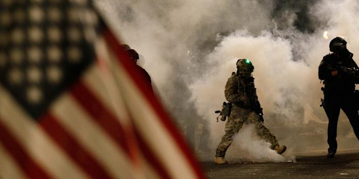 Federal officers deploy huge quantities of CS tear gas in Portland, Oregon on July 21, 2020. Over a thousand people, including a large march of mothers, demonstrated for racial justice and against Donald Trump's insertion of federal officers in Portland, Oregon.