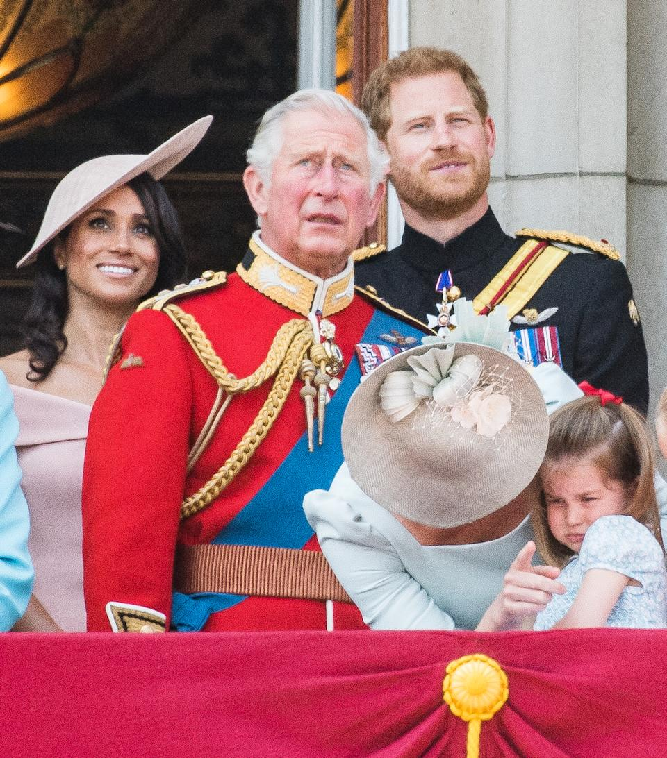 Meghan, Duchess of Sussex, Prince Charles, Prince of Wales, Prince Harry, Duke of Sussex, Catherine, Duchess of Cambridge, Princess Charlotte of Cambridge on the balcony of Buckingham Palace during Trooping The Colour 2018 on June 9, 2018 in London, England.  (Photo by Samir Hussein/Samir Hussein/WireImage)