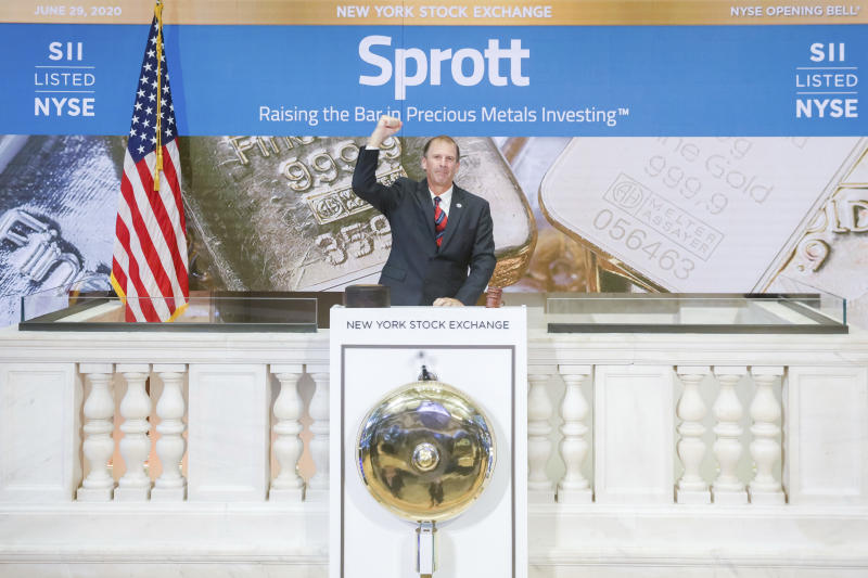 IMAGE DISTRIBUTED FOR THE NEW YORK STOCK EXCHANGE - Sprott Inc (NYSE: SII) virtually rings the NYSE Opening Bell in celebration of its listing on the NYSE on Monday, June 29th, 2020 in New York. (New York Stock Exchange via AP Images)