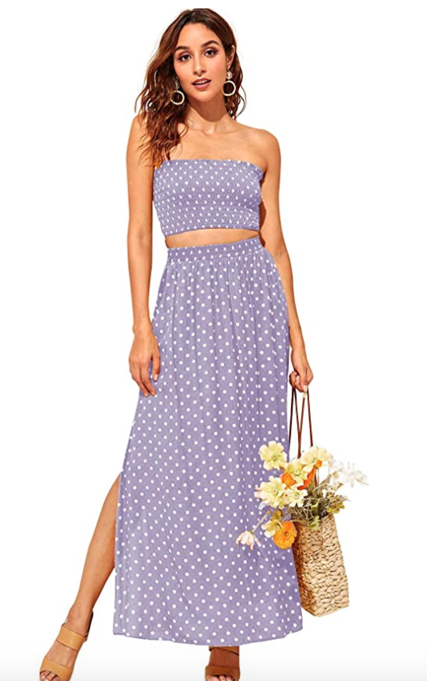 "<br> <br> <strong>Floerns</strong> 2 Piece Outfit Polka Dot Set, $, available at <a href=""https://amzn.to/3caJDdV"" rel=""nofollow noopener"" target=""_blank"" data-ylk=""slk:Amazon Fashion"" class=""link rapid-noclick-resp"">Amazon Fashion</a>"