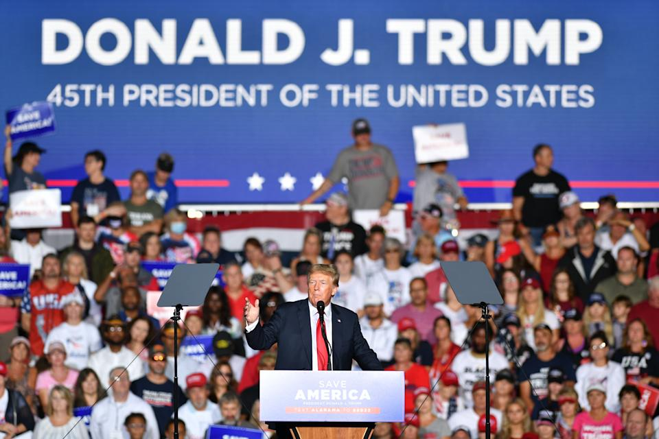 CULLMAN, USA - AUGUST 21: Donald J. Trump delivers remarks at a major rally hosted by the Alabama Republican Party and in conjunction with the Alabama Republican Party's Summer Meeting to support the MAGA agenda in Cullman, Alabama in Cullman, AL, United States on August 21, 2021. (Photo by Peter Zay/Anadolu Agency via Getty Images)