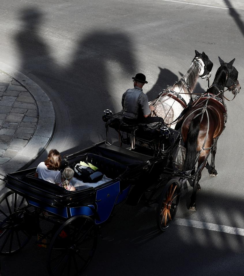 An equestrian statue casts a shadow as a traditional Fiaker horse carriage passes in the centre of Vienna, Austria, August 17, 2017. REUTERS/Heinz-Peter Bader