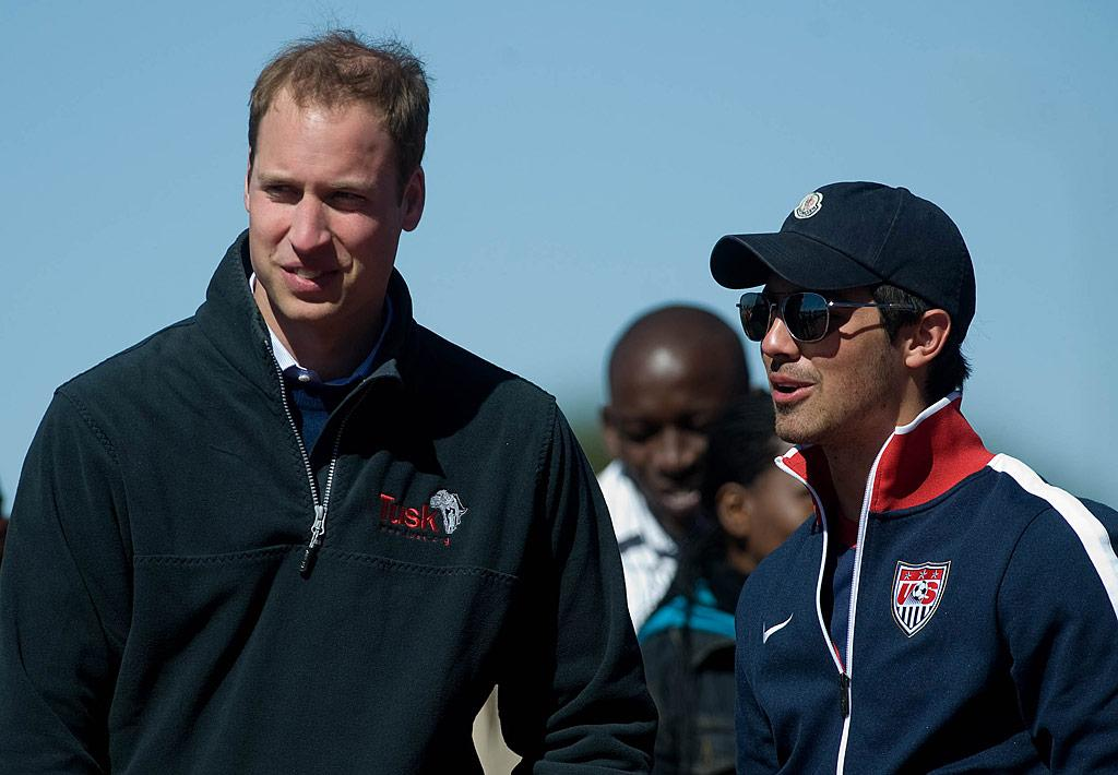 """Prince William teamed up with Joe Jonas to support the Coaching For Conservation Project -- which marries football skills to wildlife protection -- in Maun, Botswana, on Wednesday. Joe was nicely decked out in Team USA's World Cup soccer gear. Samir Hussein/<a href=""""http://www.wireimage.com"""" target=""""new"""">WireImage.com</a> - June 16, 2010"""