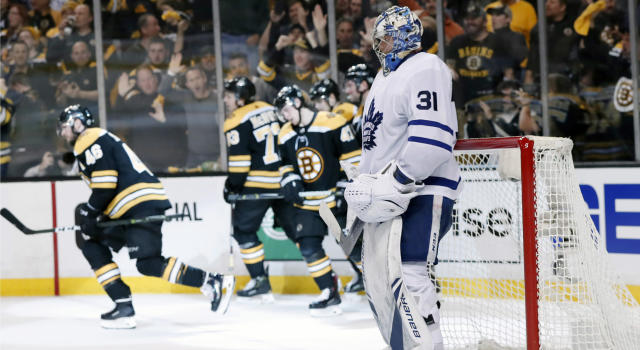 "It was a lopsided win for the <a class=""link rapid-noclick-resp"" href=""/nhl/teams/bos"" data-ylk=""slk:Bruins"">Bruins</a> in Game 1 Thursday versus the Maple Leafs. (Getty)"