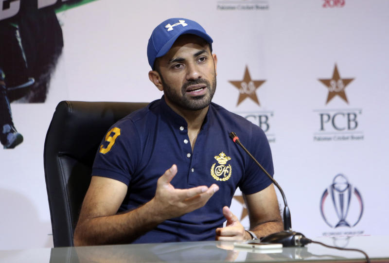 Pakistan's fast bowler Wahab Riaz addresses a news conference in Lahore, Pakistan, Tuesday, May 21, 2019. Recalled Riaz said he had dreamed about being selected for Pakistan's World Cup team around 10 days ago, even though he was not part of the initial list of 23 probables. (AP Photo/K.M. Chaudary)