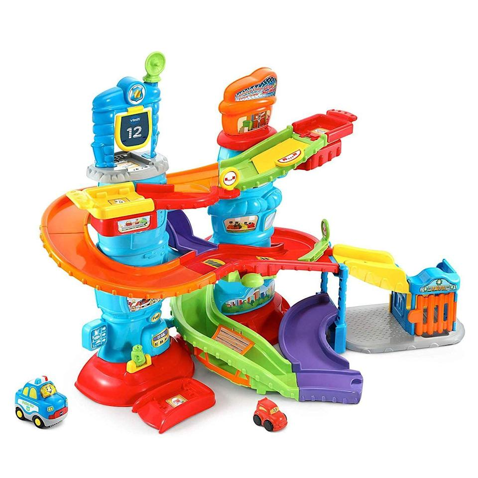 "<p><strong>VTech </strong></p><p>amazon.com</p><p><strong>$66.56</strong></p><p><a href=""http://www.amazon.com/dp/B07B76RN9L/?tag=syn-yahoo-20&ascsubtag=%5Bartid%7C10055.g.1900%5Bsrc%7Cyahoo-us"" rel=""nofollow noopener"" target=""_blank"" data-ylk=""slk:Shop Now"" class=""link rapid-noclick-resp"">Shop Now</a></p><p>The way the police car chases a getaway car around bright and colorful tracks is so engrossing, your kids won't quit playing with it after five minutes. <em>Ages 1+</em></p>"