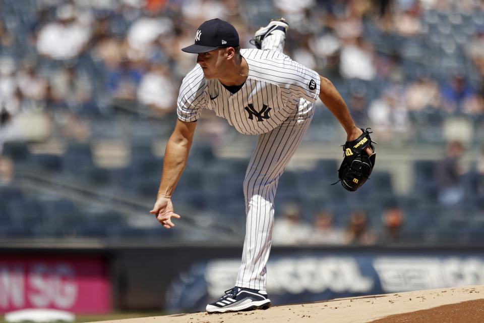 New York Yankees pitcher Jameson Taillon delivers to the Toronto Blue Jays during the first inning of a baseball game on Monday, Sept. 6, 2021, in New York. (AP Photo/Adam Hunger)
