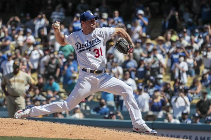 Los Angeles, CA, Sunday, September 12 2021 - Los Angeles Dodgers starting pitcher Max Scherzer (31) pitches.