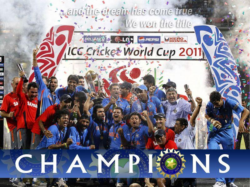The victorious Indian team at the 2011 World Cup
